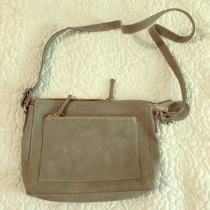 Roots crossbody grey leather bag